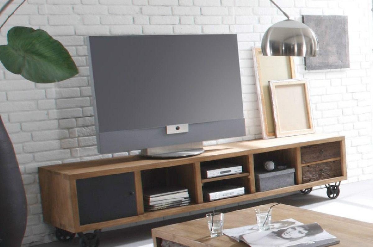 Mueble para lcd plasma en madera reciclada mesa para for Mesas televisor plasma