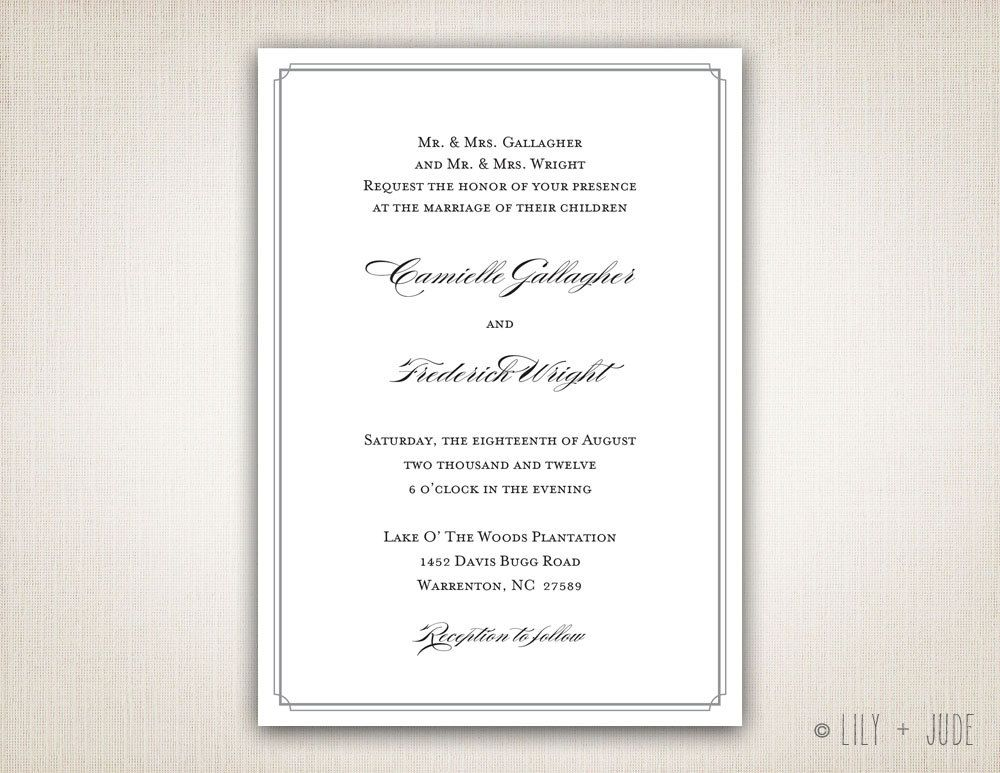 Traditional Wedding Invitation Templates: Traditional Wedding Invitation Plain Border Invitation DIY