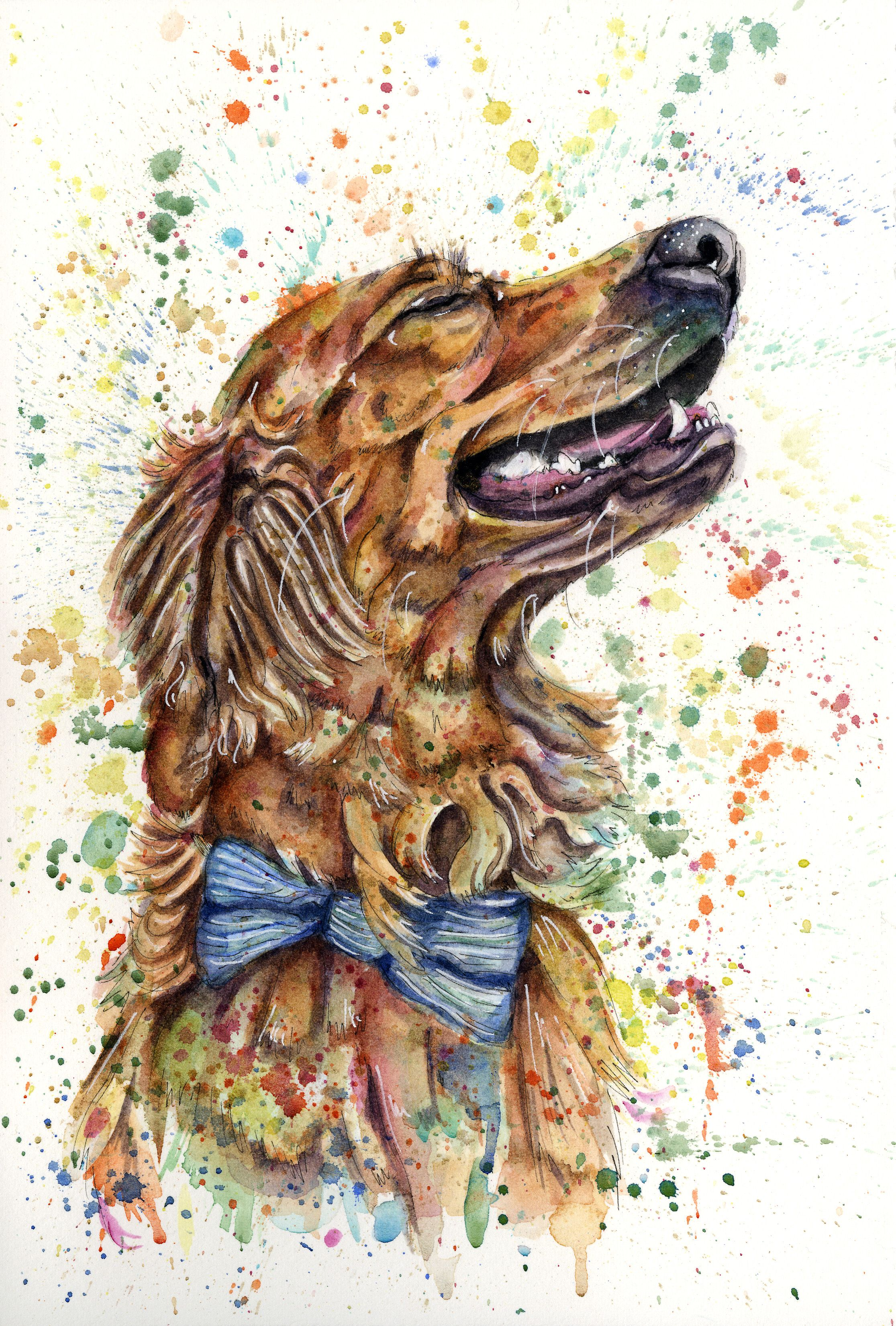 Custom Watercolour Pet Portrait Personalised Pet Painting