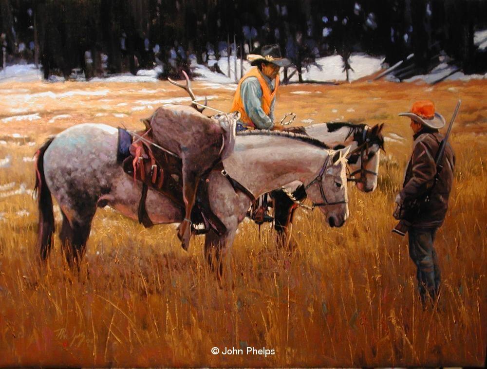 John Phelps Art » I'm Packing, Yer Walking Western art