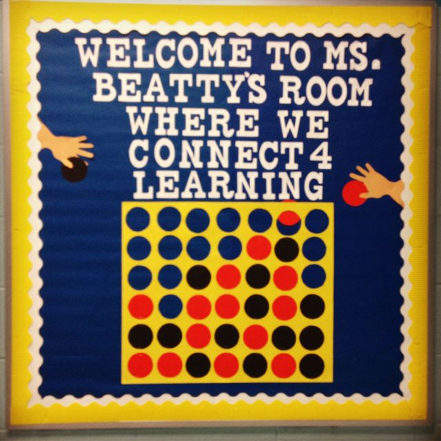 Classroom Game Ideas For College : Connect welcome bulletin board game classroom