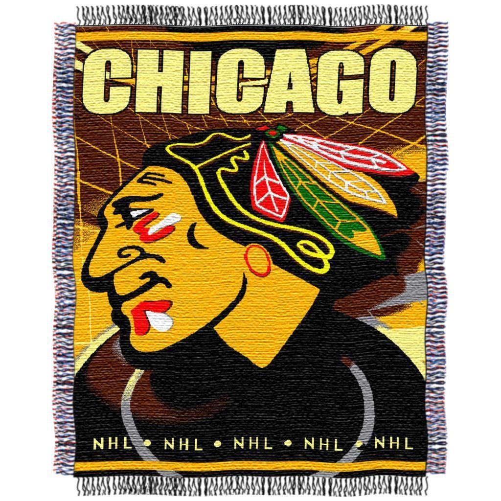 Northwest Chicago Blackhawks Woven Jacquard Blanket, Blue, Durable ...