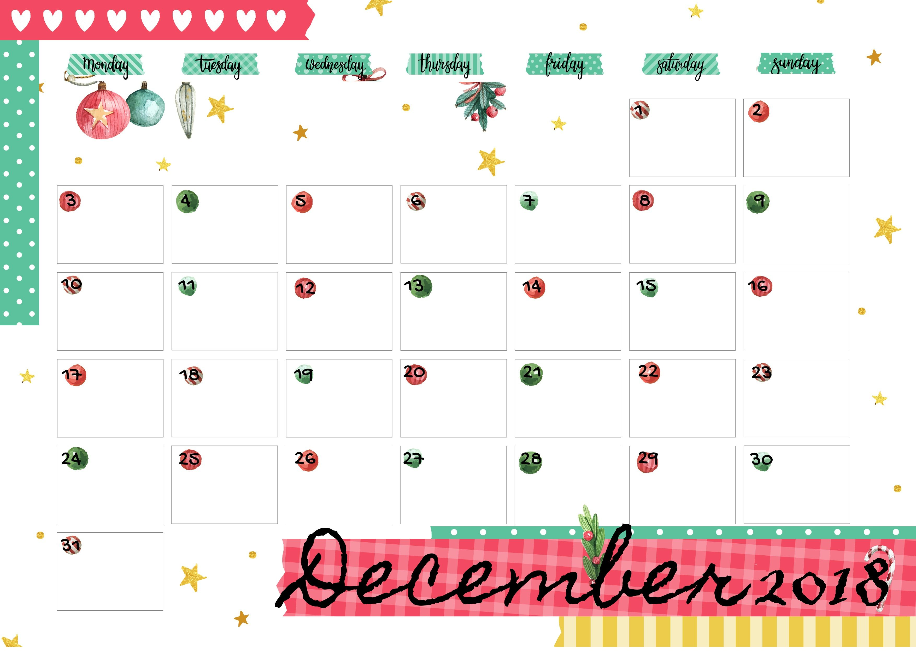 printable december 2018 calendar templates for personal and professional work maxcalendars. Black Bedroom Furniture Sets. Home Design Ideas
