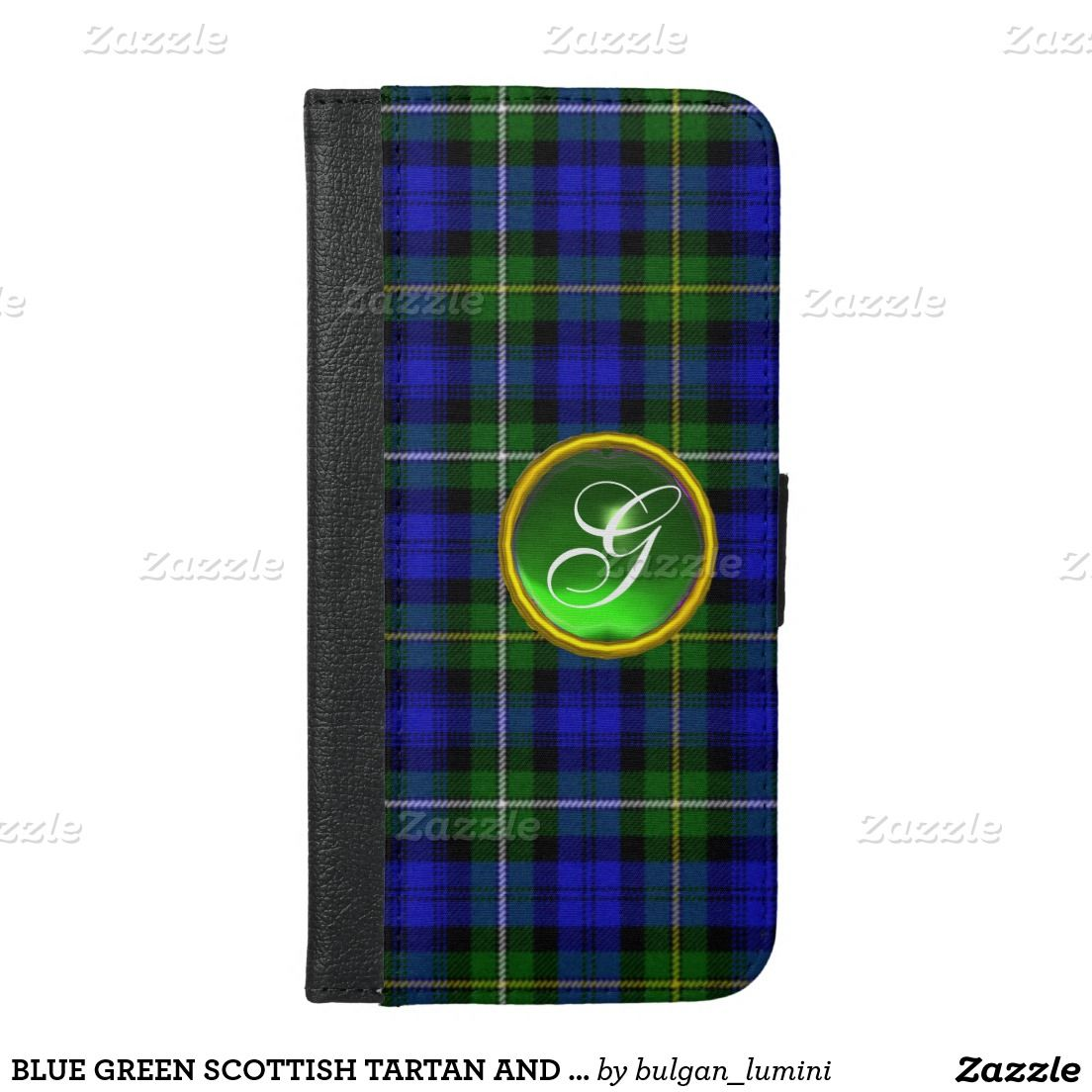 BLUE GREEN SCOTTISH TARTAN AND GEM STONE MONOGRAM