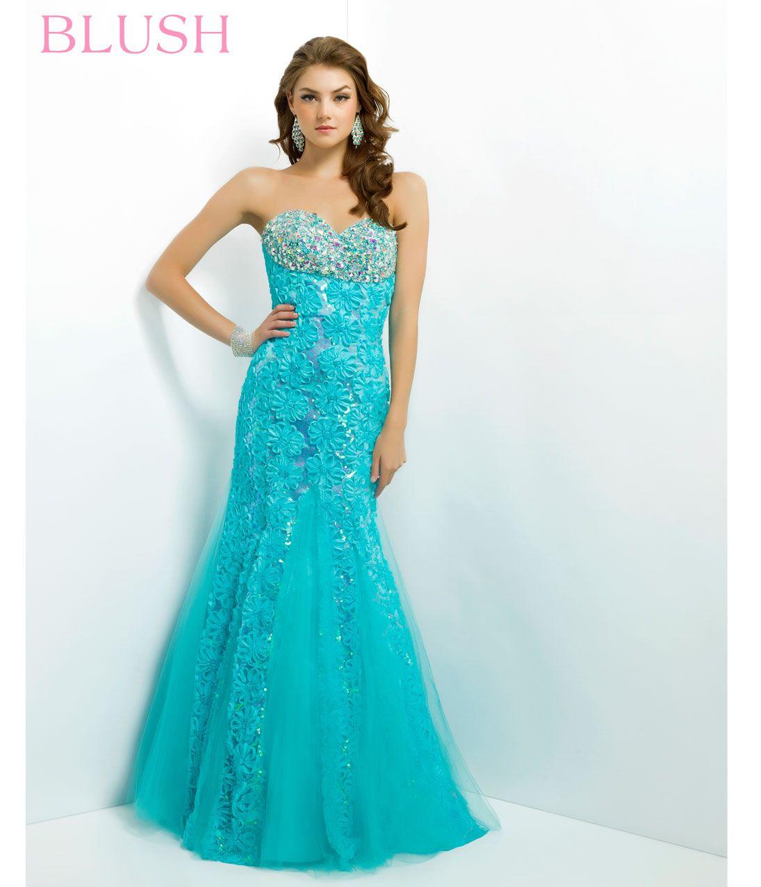 Blush 2014 Prom Dresses - Turquoise Jeweled Lace Strapless ...