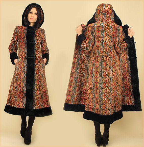 f8ccc6e67607f6 ViNtAgE 60   s Rainbow noir tapisserie manteau capuche HiPPiE Maxi tapis  Floral, princesse russe fourrure Faux manteau S M