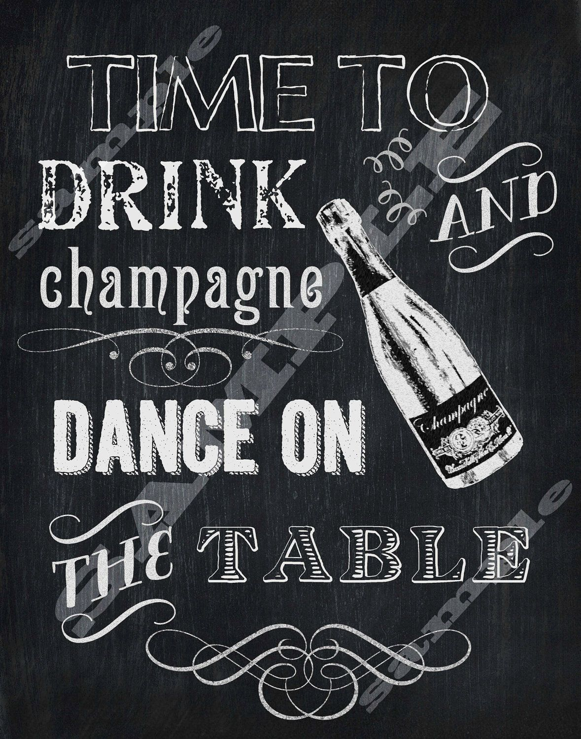 new year chalkboard art Time to drink champagne and