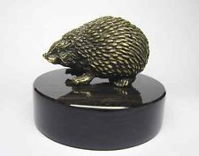 Russian M44 bronze figurine Hedgehog natural stone obsidian