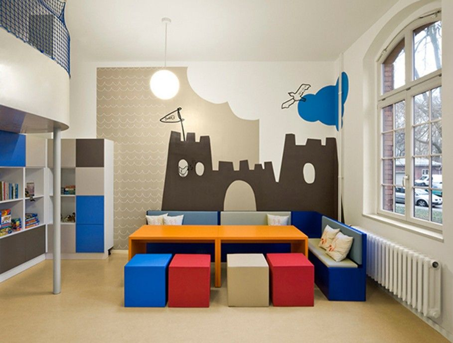 Children\'s playroom, Colorful Ottomans Also Big Arched Window And ...