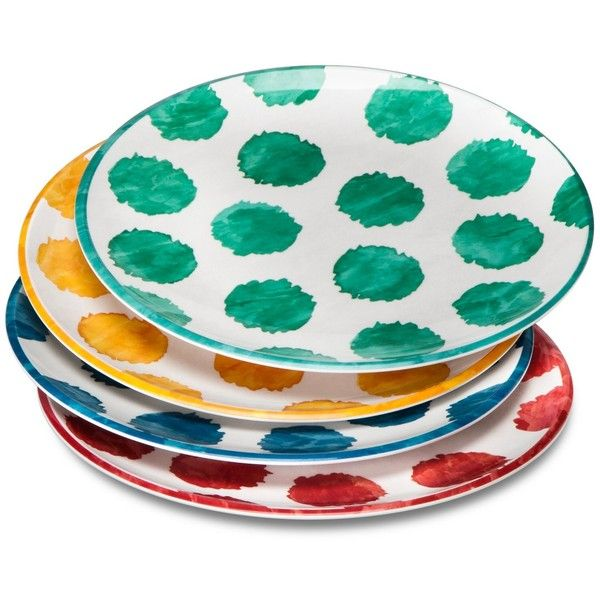 Dots Melamine Dinner Plates .5\u0027\u0027 ($15) ❤ liked on Polyvore featuring  sc 1 st  Pinterest : multi colored dinner plates - pezcame.com