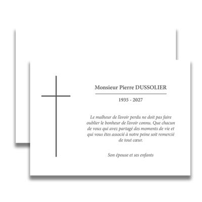 carte de deuil chr tien pour remercier apr s un d c s sobre et classique avec sa simple croix. Black Bedroom Furniture Sets. Home Design Ideas