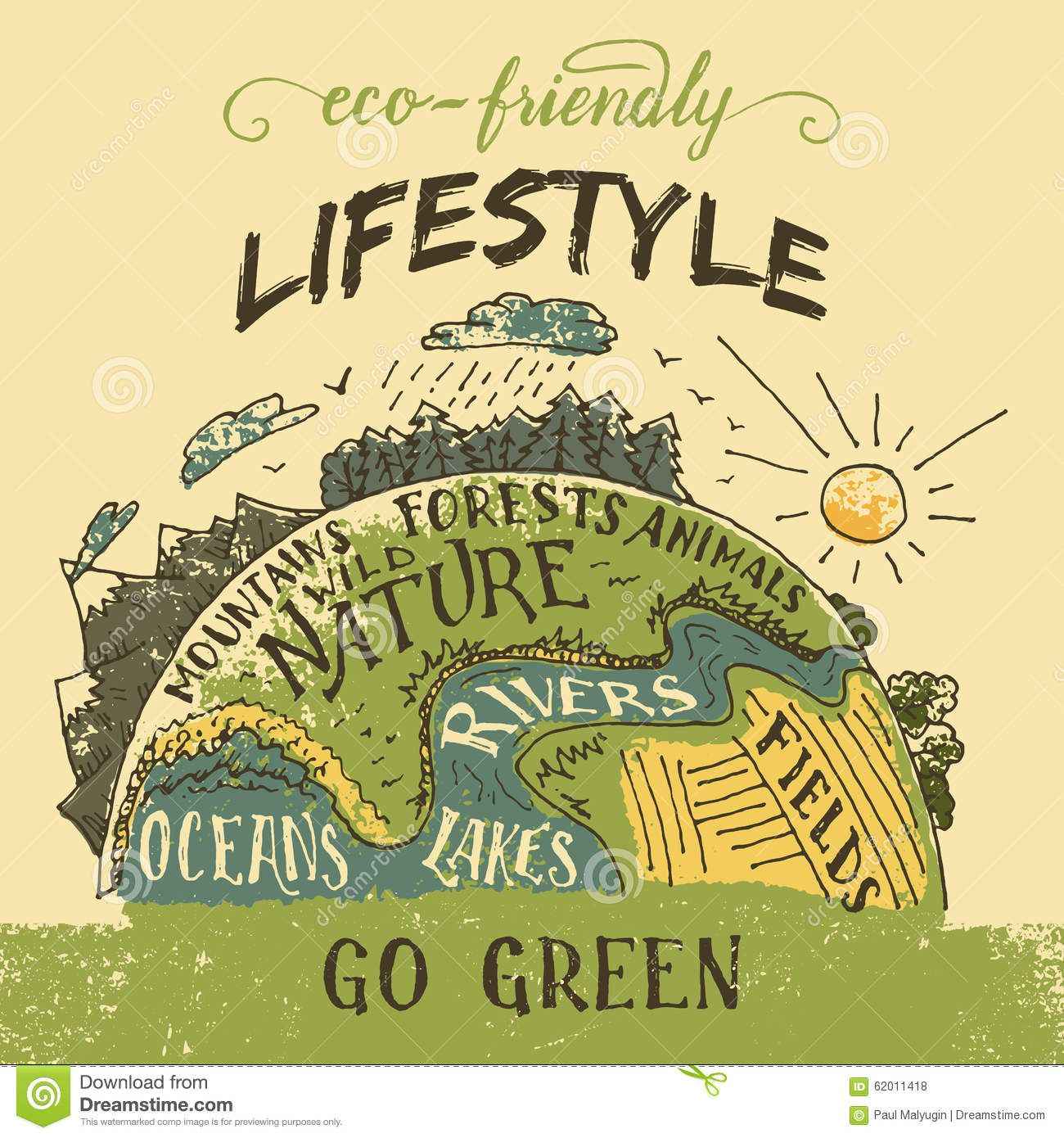 Eco Friendly Lifestyle Concept Go Green Eco Poster Earth Poster Save Earth Posters Recycle Poster