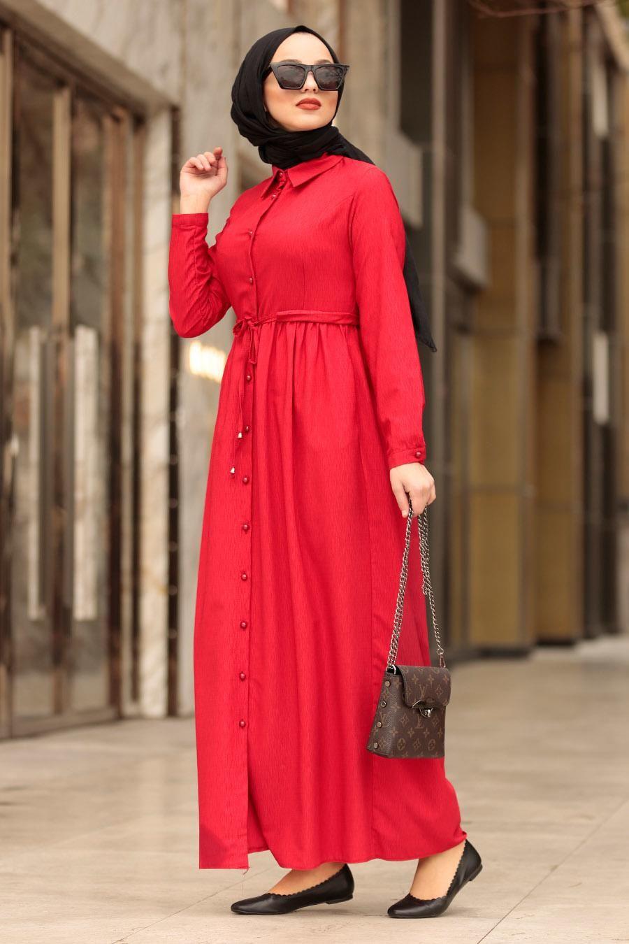 Nayla Collection Dugmeli Kirmizi Tesettur Elbise 3163k Tesetturisland Com Elbise Moda Stilleri Basortusu Modasi