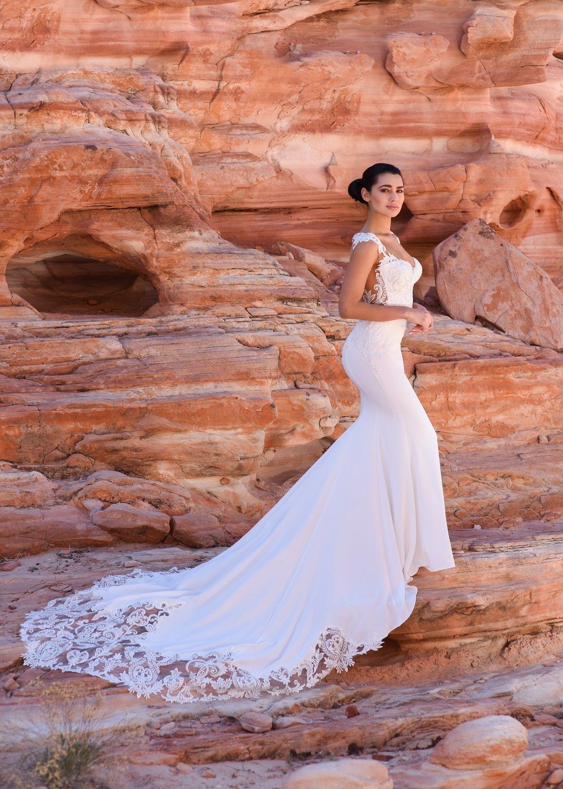 Goddess of Magic. Crepe column dress with deep sweetheart