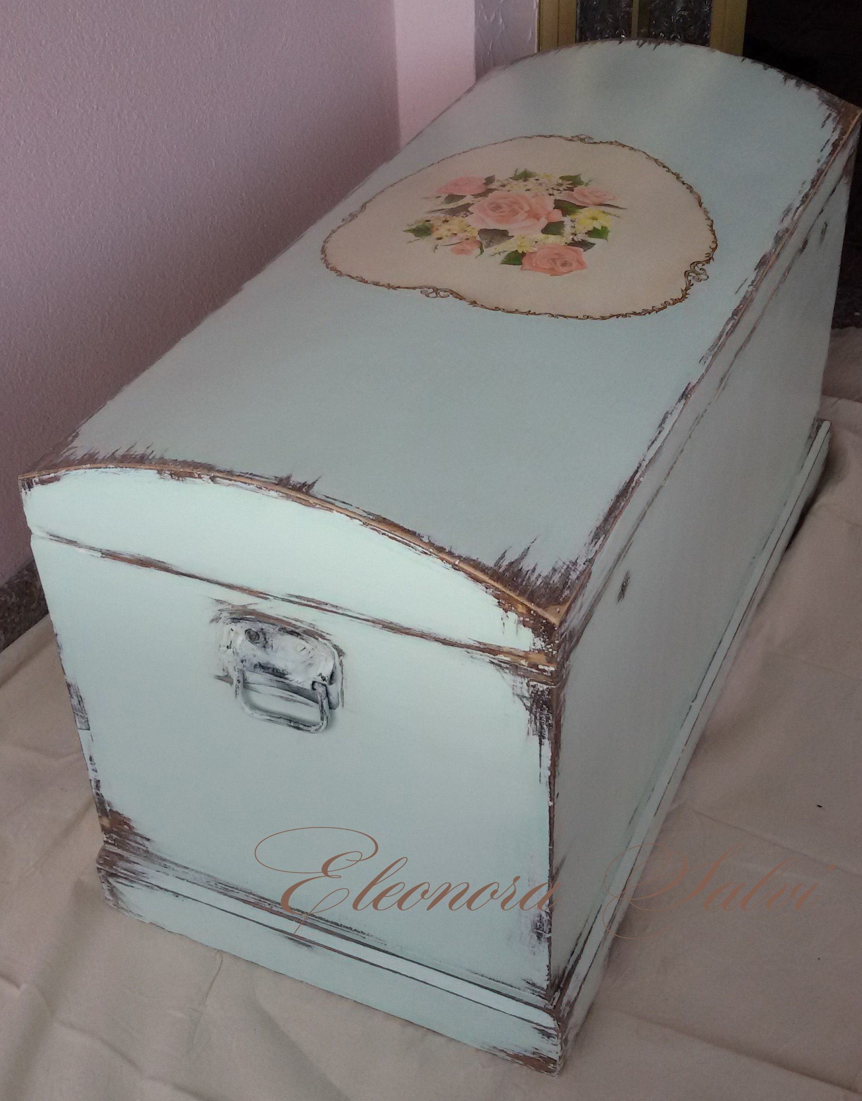 Baule arte povera rivisitato in stile shabby chic dipinto for Stile country francese