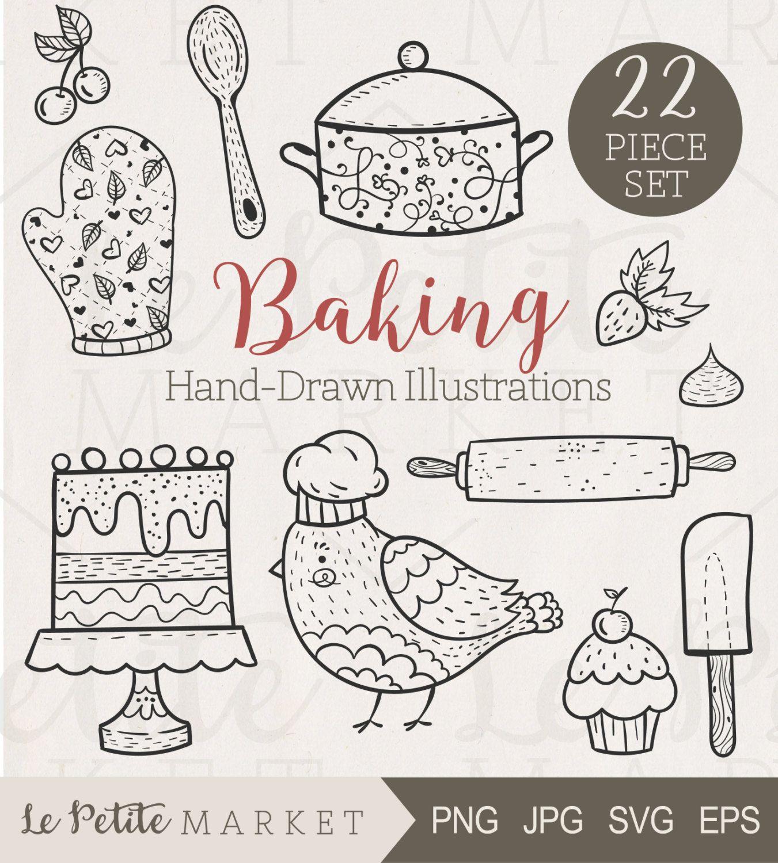 Cute Hand Drawn Baking Clip Art Kitchen Clipart Cooking