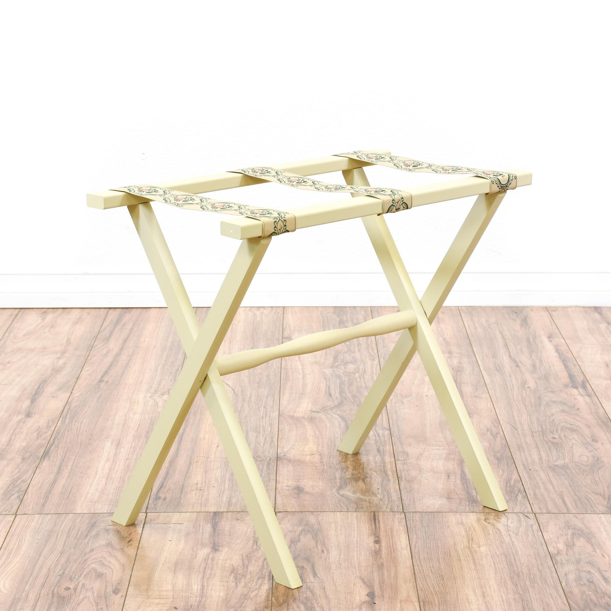 This cottage chic luggage stand is featured in a solid wood with a fresh off  white paint finish. This side table has a folding base e1939976e