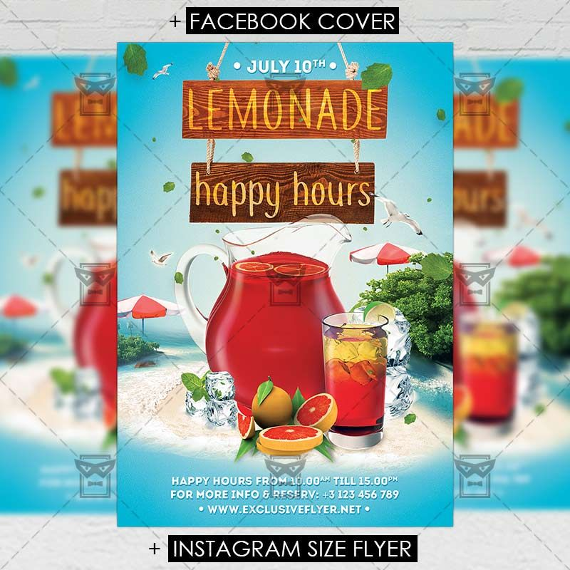 Lemonade Happy Hours Premium A5 Flyer Template Httpswww