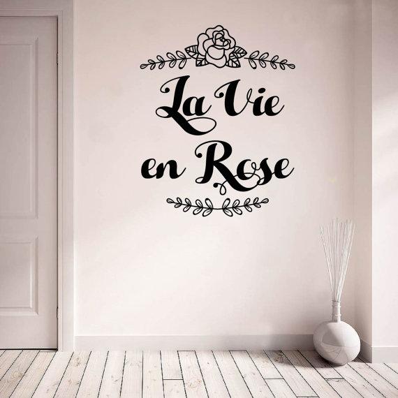 wall vinyl decal la vie en rose writing calligraphy hand | nibs and