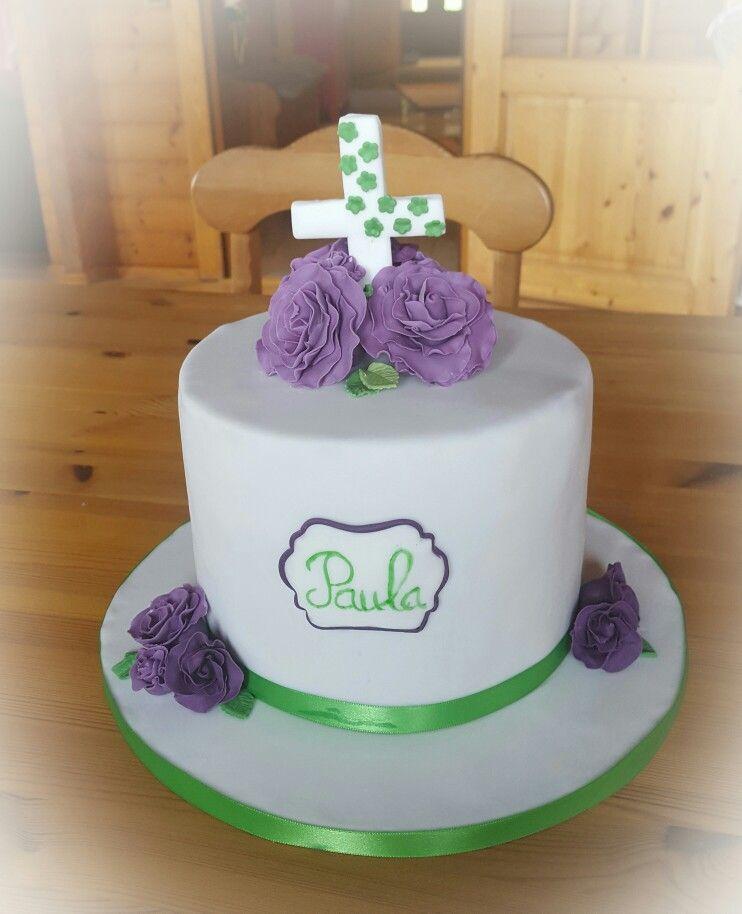 Torte Zur Konfirmation Fondant Lila Gr 252 N Torten
