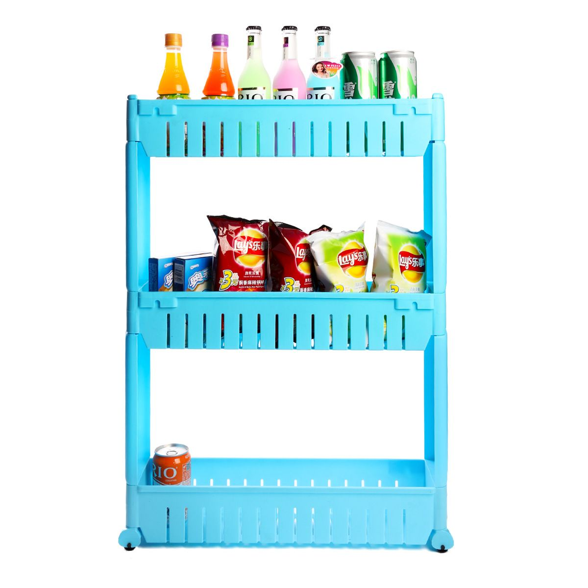 3 layer plastic kitchen storage rack can move between the car ...