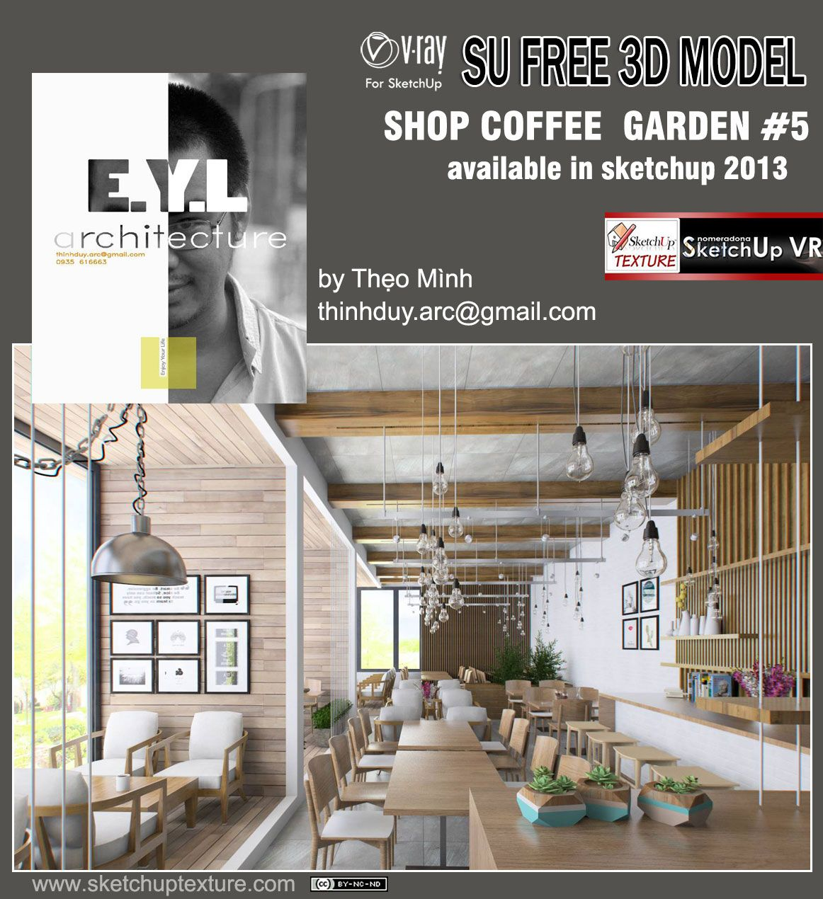 Free #sketchup Model Garden Coffee Bar Shop # 5, #vray Setting By Theo