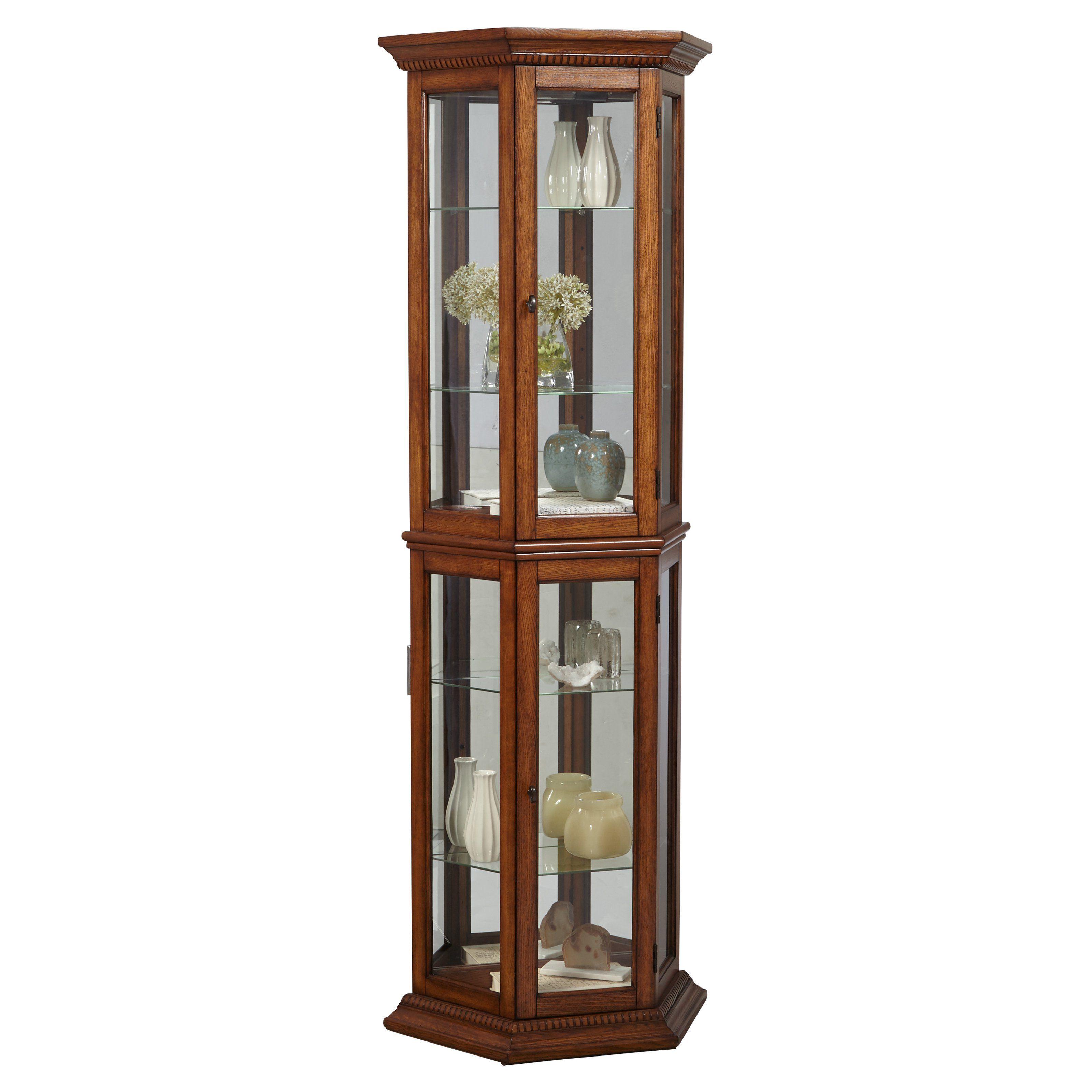 Right2home Pulaski Two Door Oak Curio Cabinet From Hayneedle Com Curio Cabinet Curio Modern Kitchen Cabinets