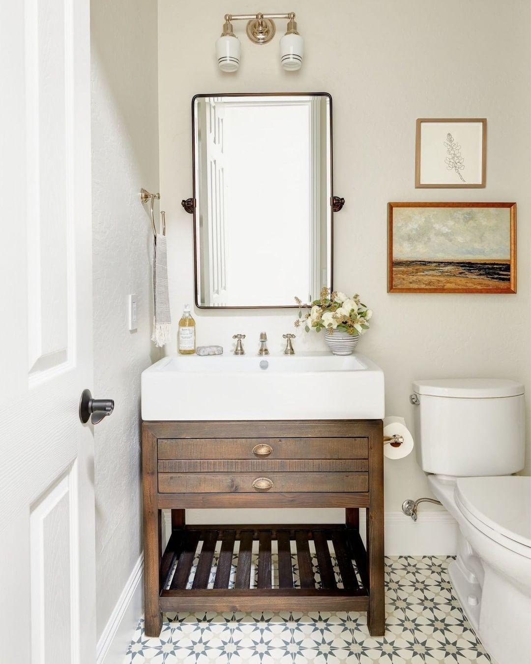 Lexi Westergard Design On Instagram This Small Guest Bath Was The Perfect Spot To Go Bold With Tile We K Wood Bathroom Vanity Powder Bath Dark Wood Bathroom [ 1349 x 1080 Pixel ]
