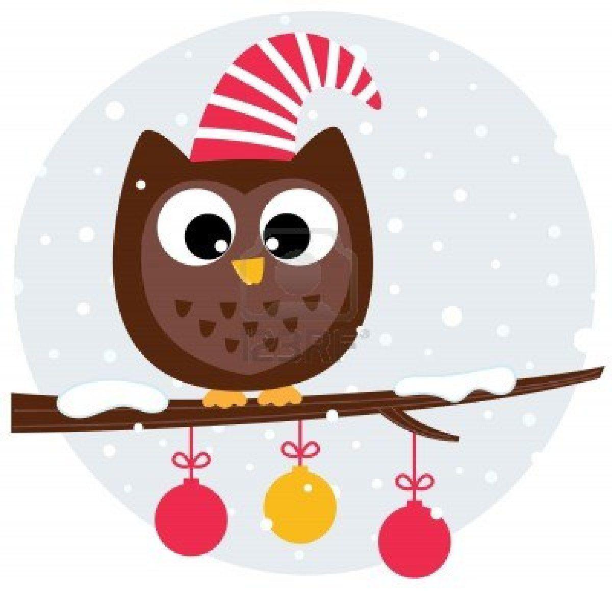 Winter Cartoon Owl In Santa Hat Illustration Owl Cartoon Christmas Owls Cute Owl Cartoon