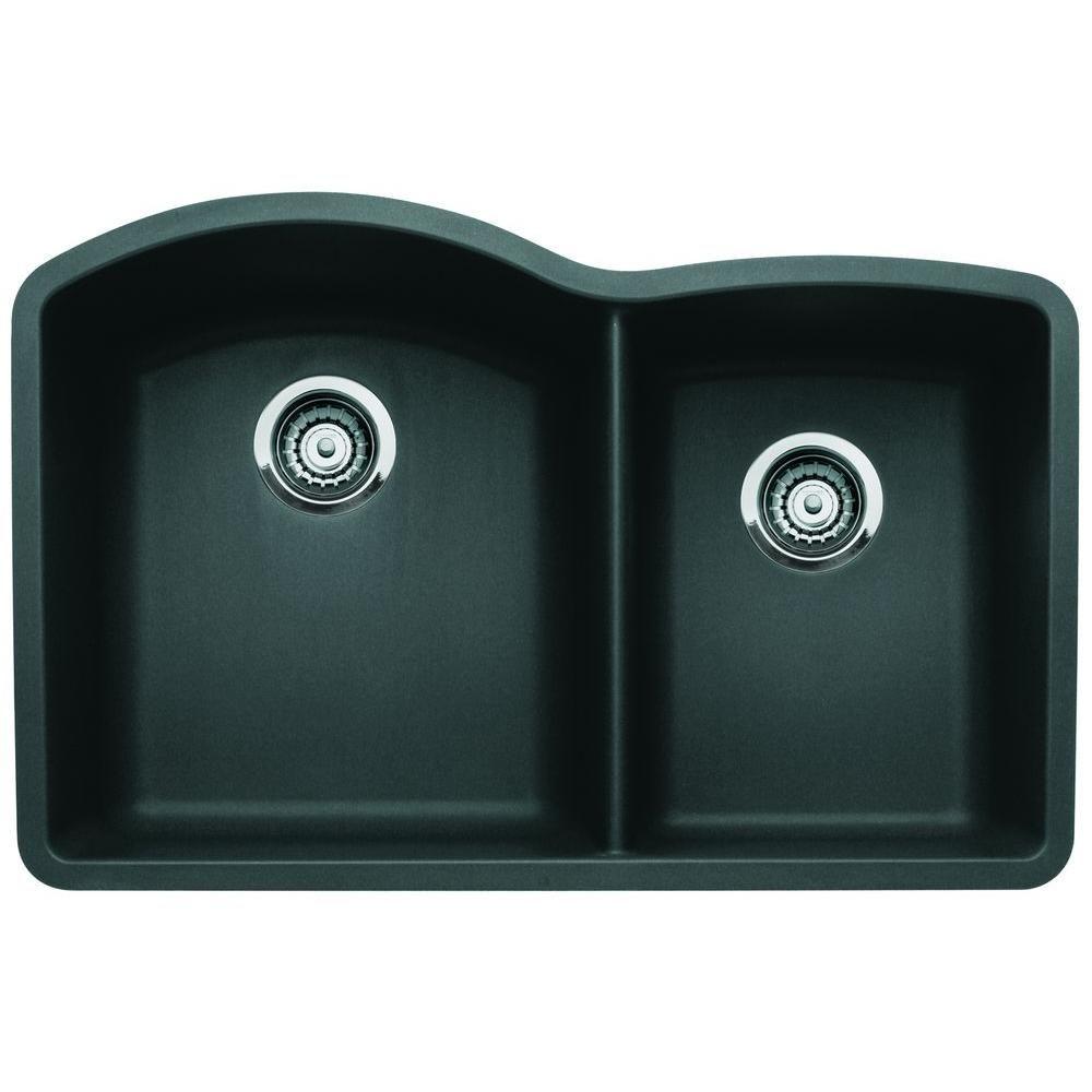 Blanco Diamond Undermount Granite Composite 32 In 60 40 Double Bowl Kitchen Sink In Biscotti 441222 Double Basin Drop In Kitchen Sink Granite Sink