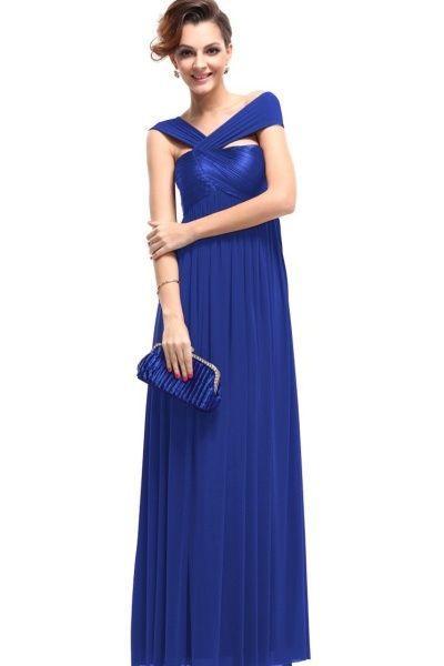 Plesové modré dlouhé šaty EVER PRETTY  9625bf6960