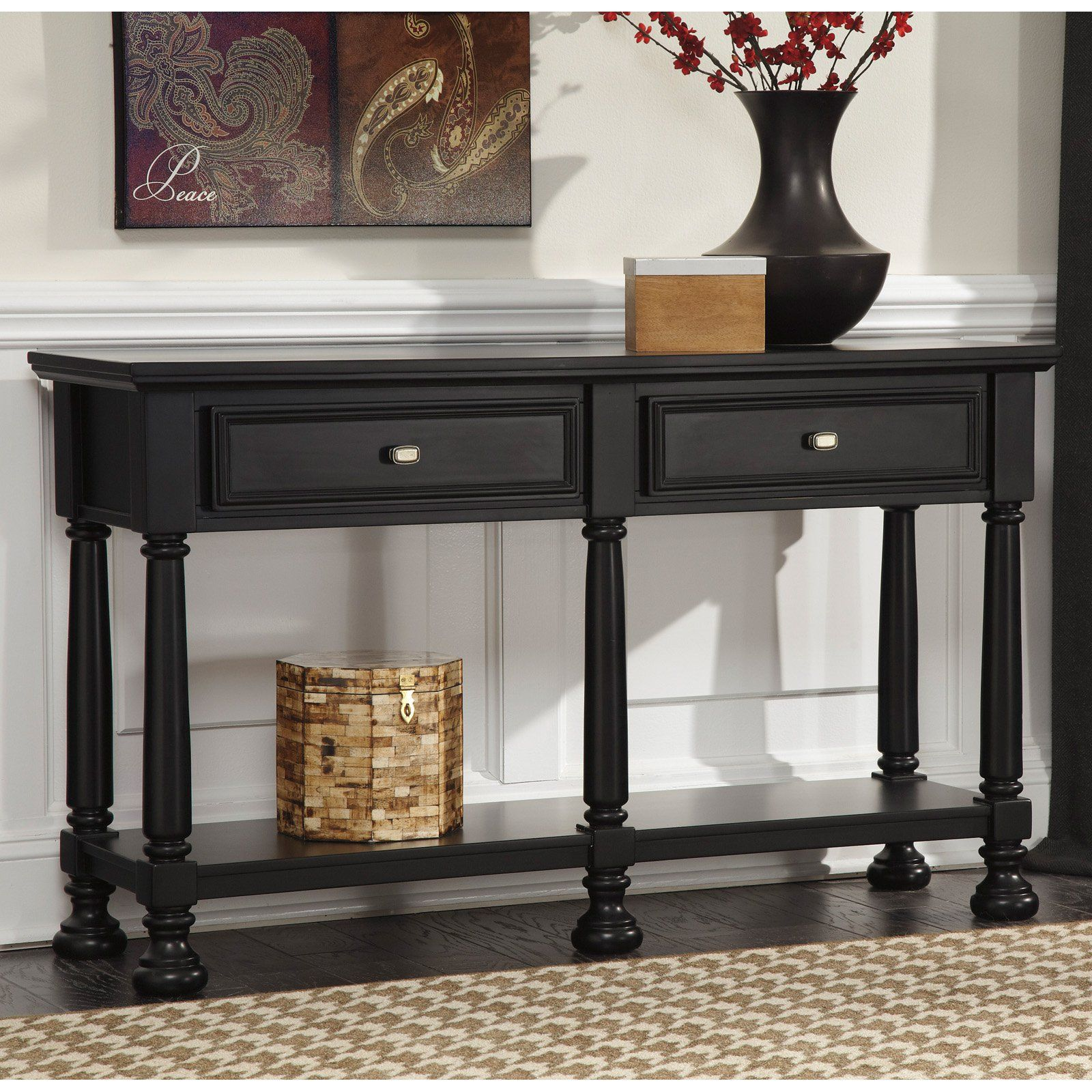 Signature Design By Ashley Landiburg Rectangular Black Sofa Table 273 52 Hayneedle