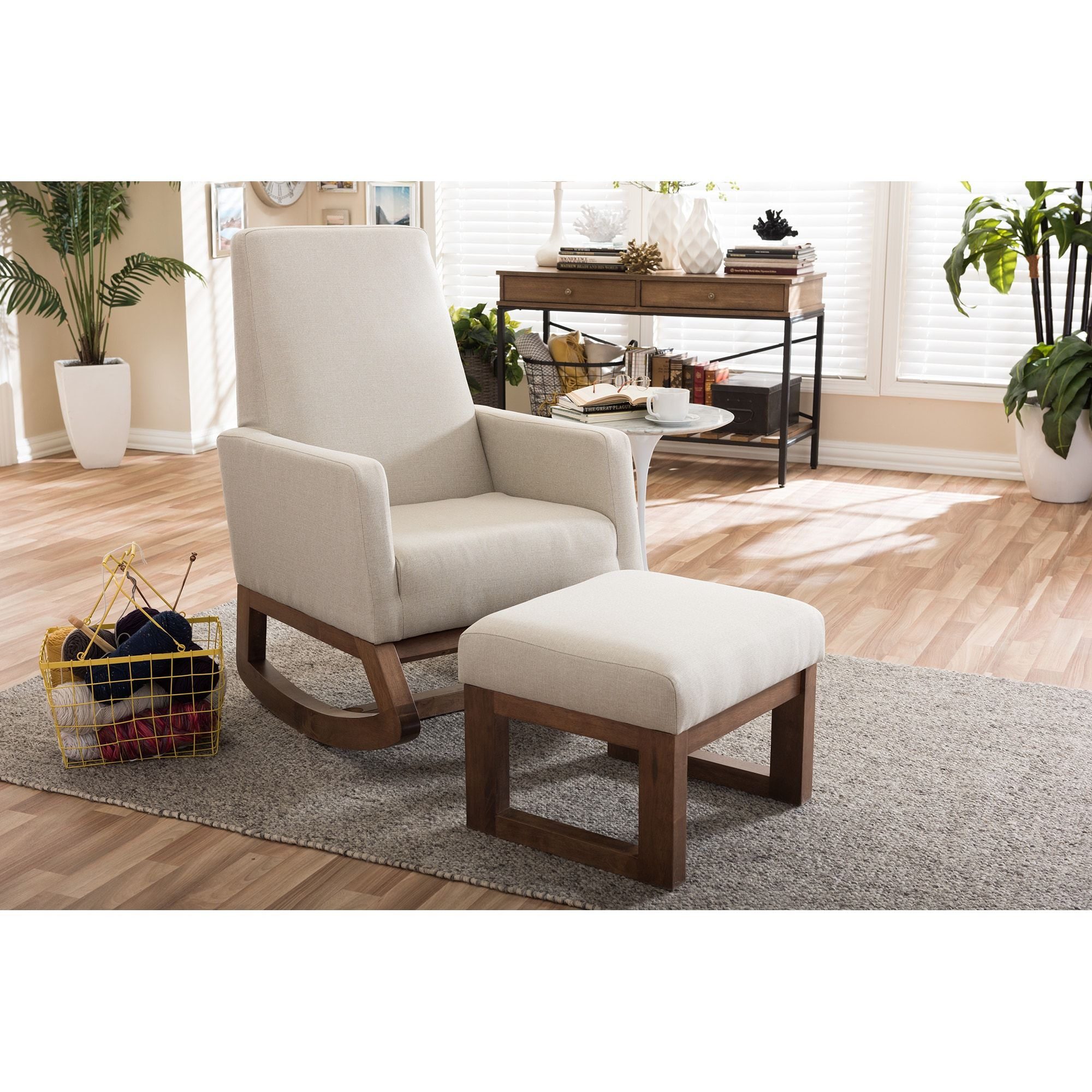 Coleman Rocking Chair Queen Anne Wing Strick Bolton Mid Century Modern Light Beige Upholstered And Ottoman Set