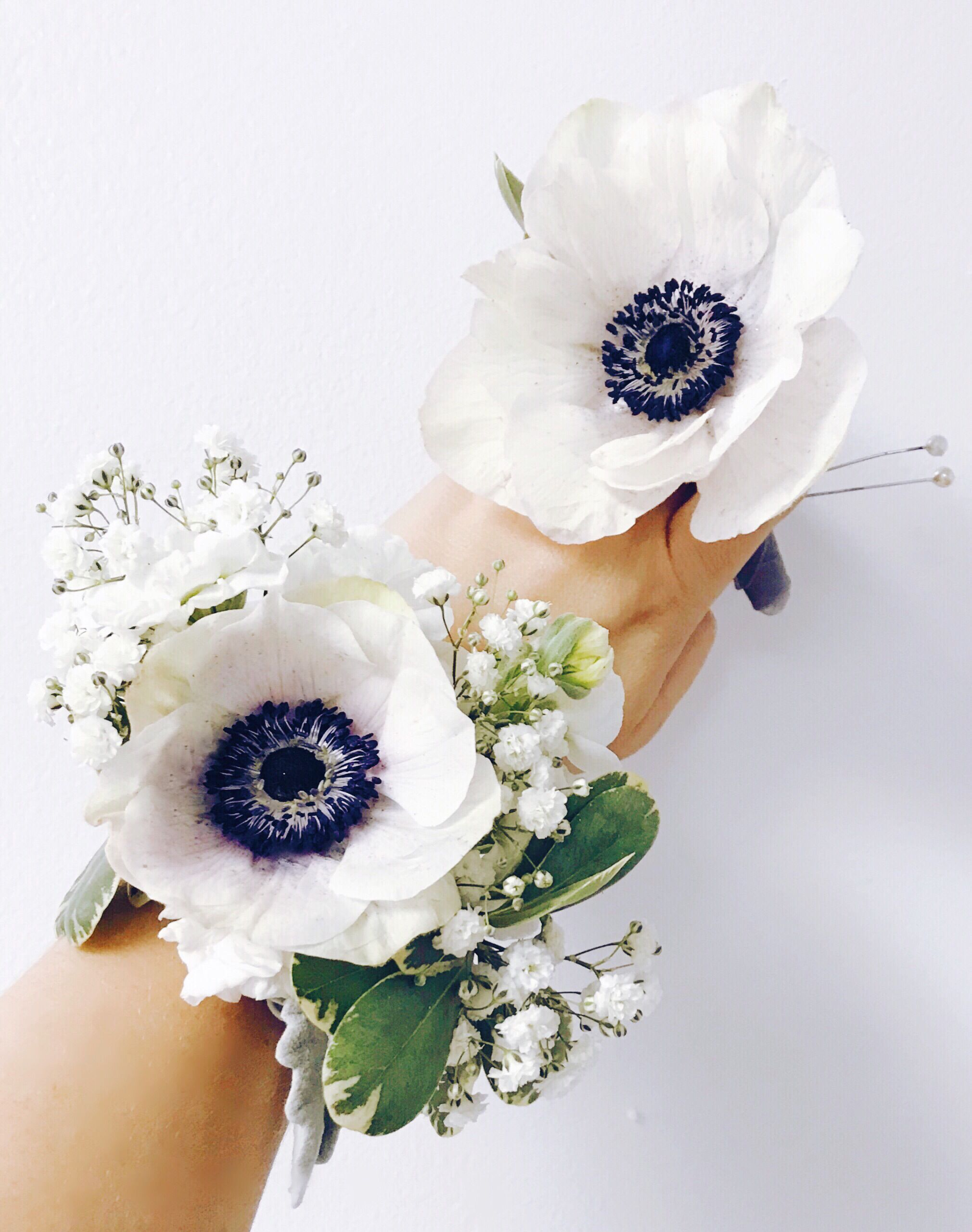 Anemone corsage and boutonnière  #corsages