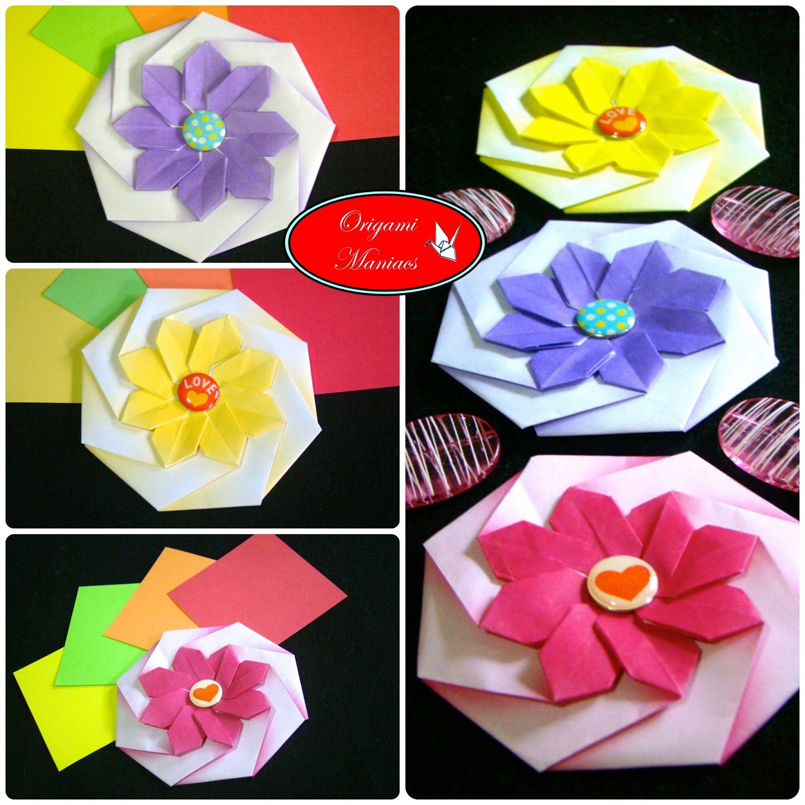 Origami Maniacs Octagonal Flower Coaster Handmade Flowers Rose Diagram Rosebox
