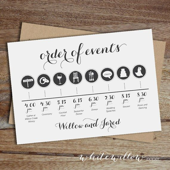 Custom Wedding Day Timeline Order of Events by WhiteWillowPaper - wedding itinerary