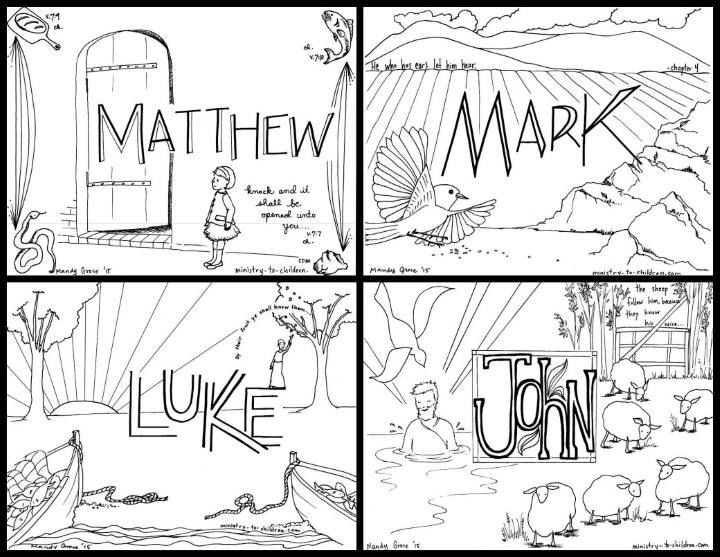 Free Coloring Pages For The Four Gospels And All The Books