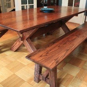 Oak Dining Room Table And Benches Custom Madebrinks Woodshop Entrancing Custom Made Dining Room Tables Review