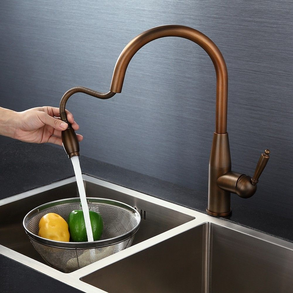 Classic Single Handle Pull Out Monobloc Deck Mount High Arc Kitchen Mixer Tap Solid Brass In Antique Brass High Arc Kitchen Faucet Kitchen Faucet Kitchen Mixer Taps