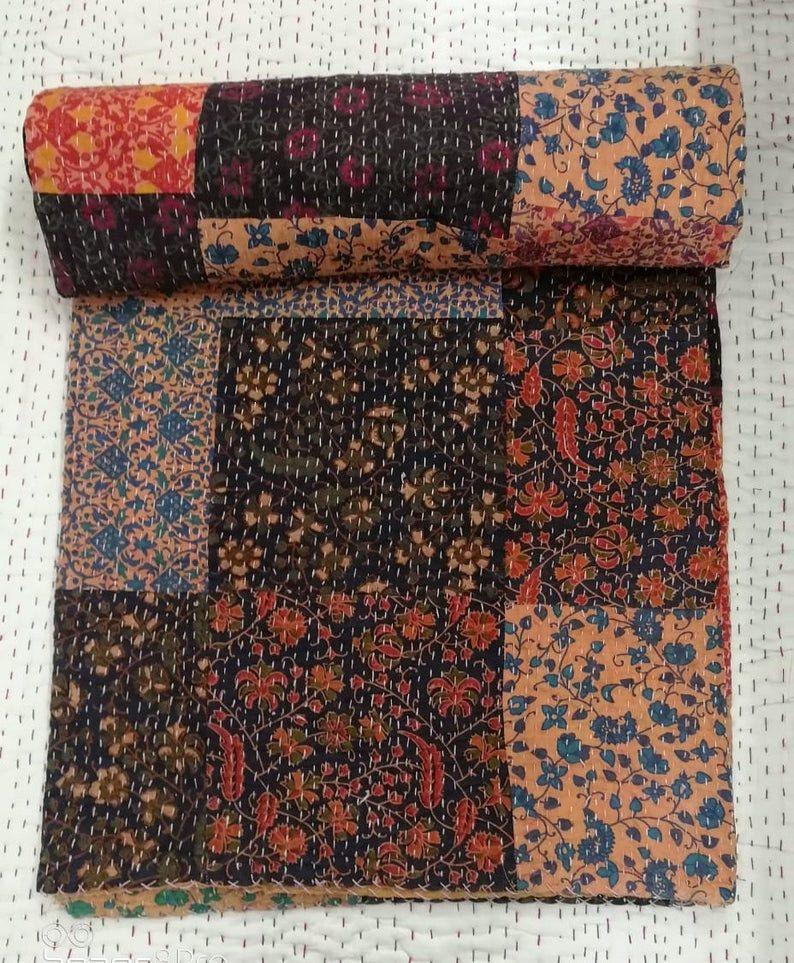 Vintage Quilt Decorative Kantha Stitch Quilt Pure Cotton Reversible Bedspread Inches Exclusive Handmade Kantha Work Quilt 90X108 Bohemian Bedspread Bohemian Bedding