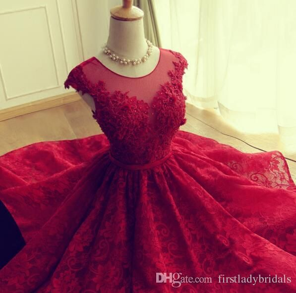 2016 Red Lace Prom Kleider Short Mini Rock Sheer Neck Tüll Appliques ...