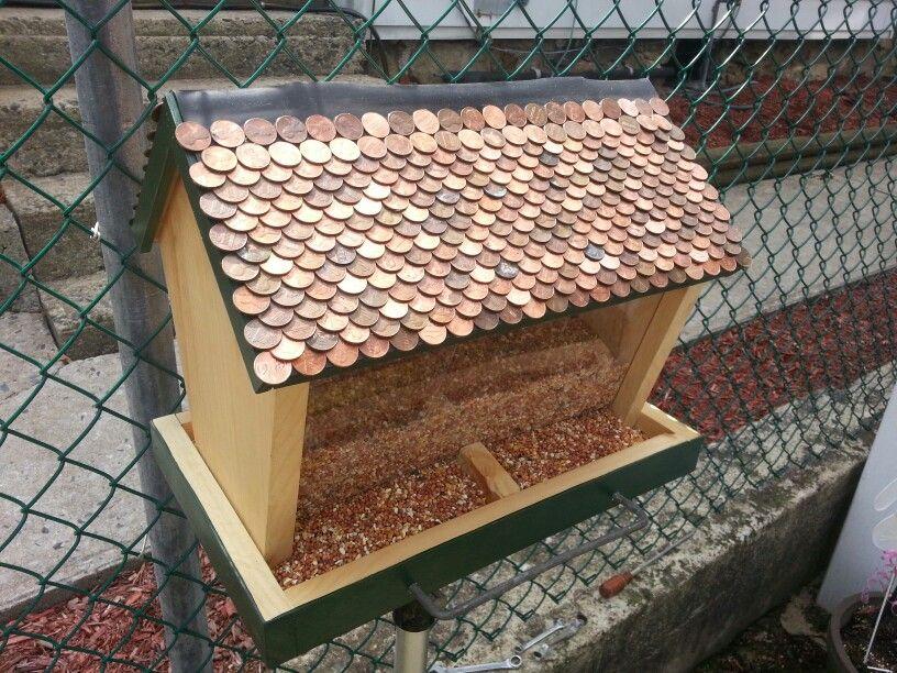 Penny Roof Copper Roof Bird Feeder Handmade Copper Roof Bird Feeder Bird Feeders Bird Feeder Plans