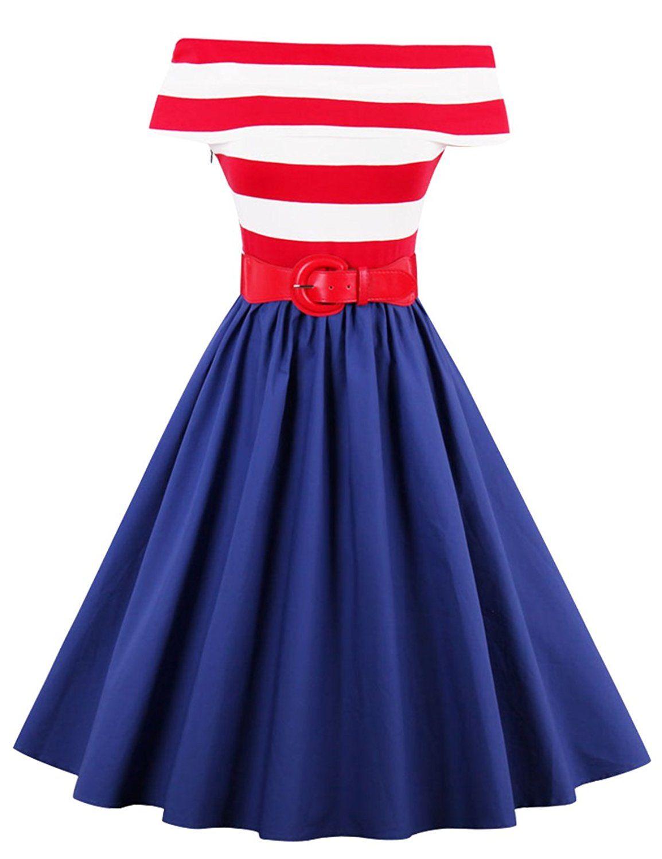 Là Vestmon Damen Kleid Rot Gestreift Farbe Block Blau 60er ...