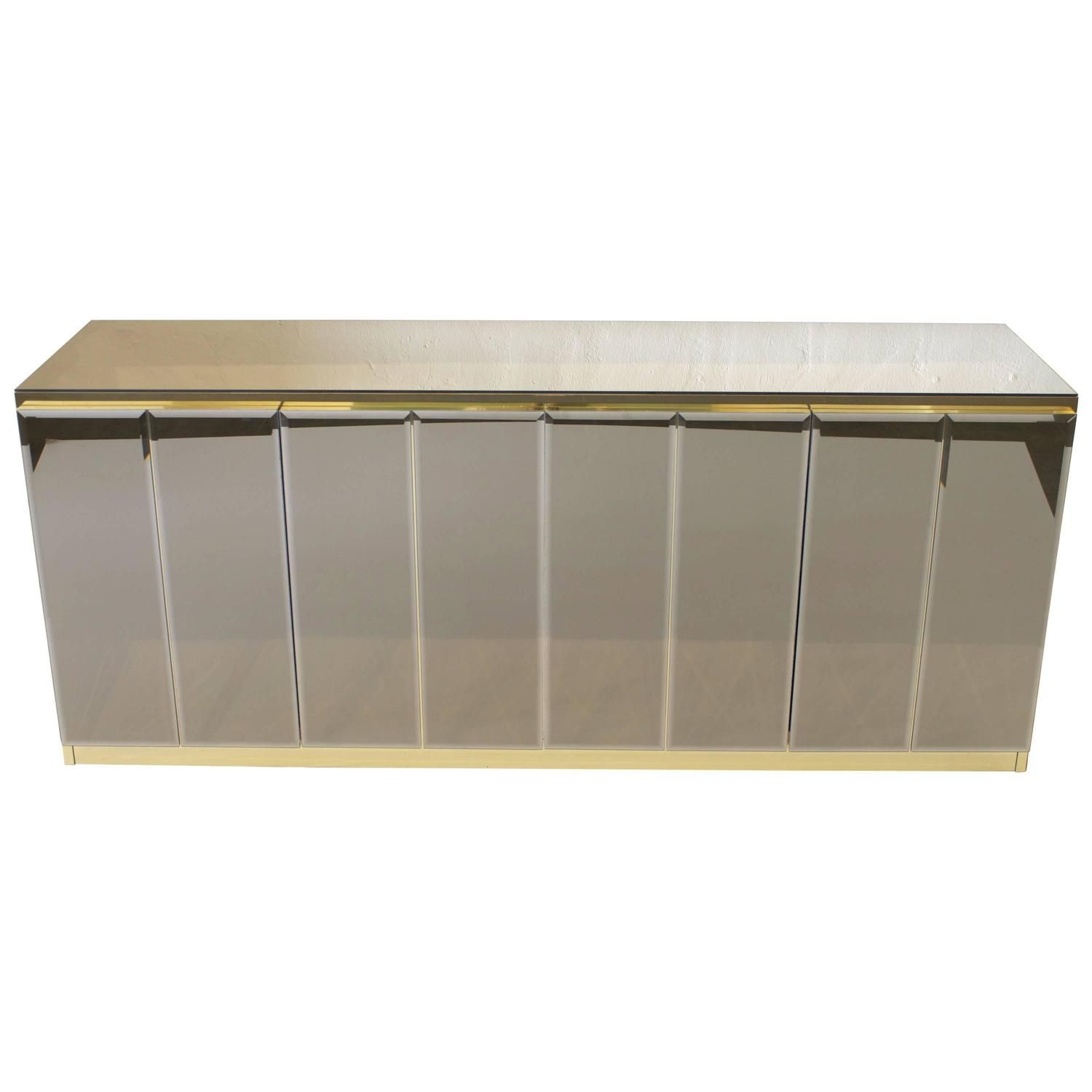 Ello Bronze Mirror And Brass Sideboard Or Cabinet From A Unique