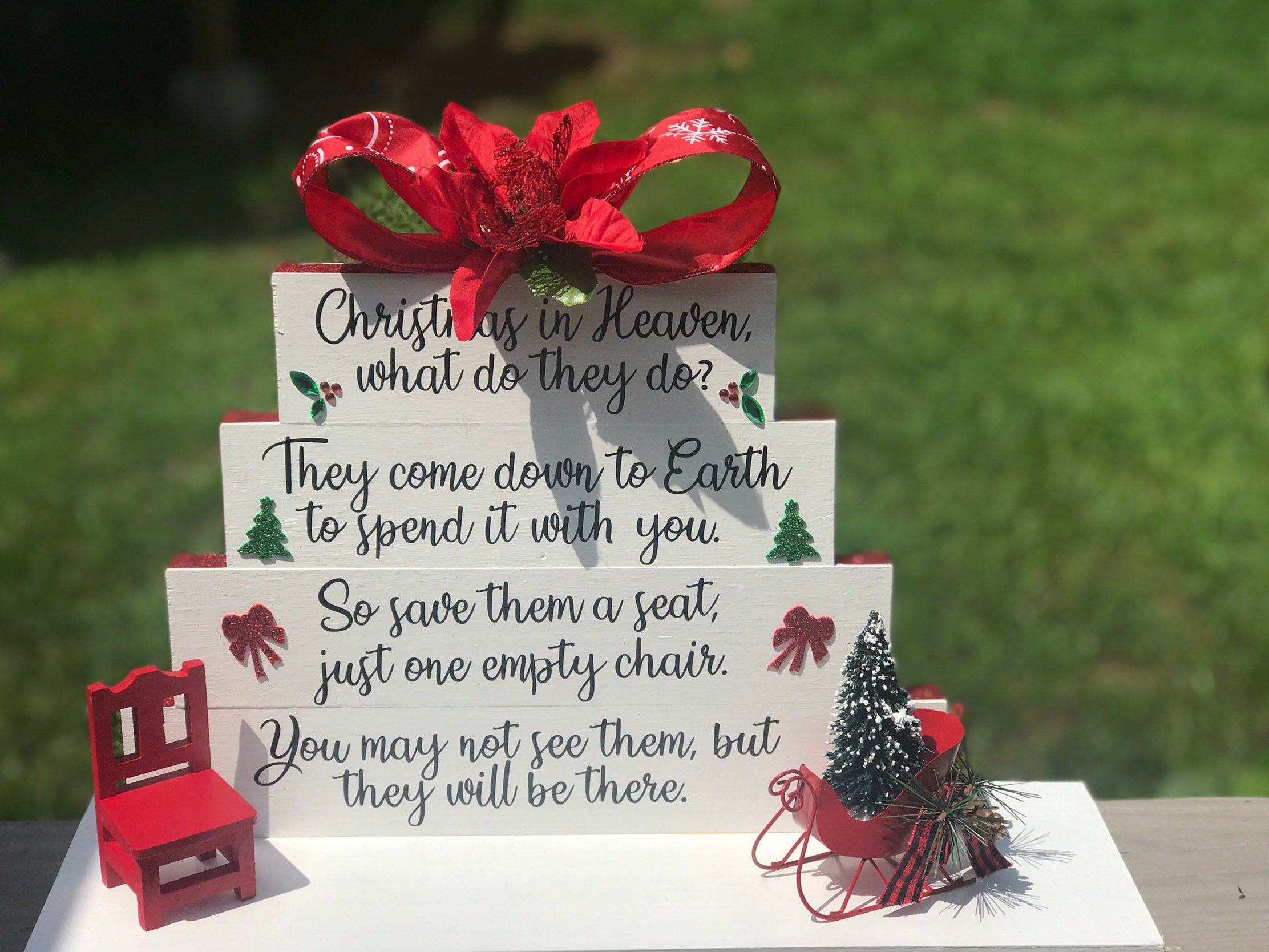 Christmas In Heaven Save Me A Seat Memorial Christmas Gift Etsy Christmas In Heaven Memorial Christmas Gift Grieving Gifts