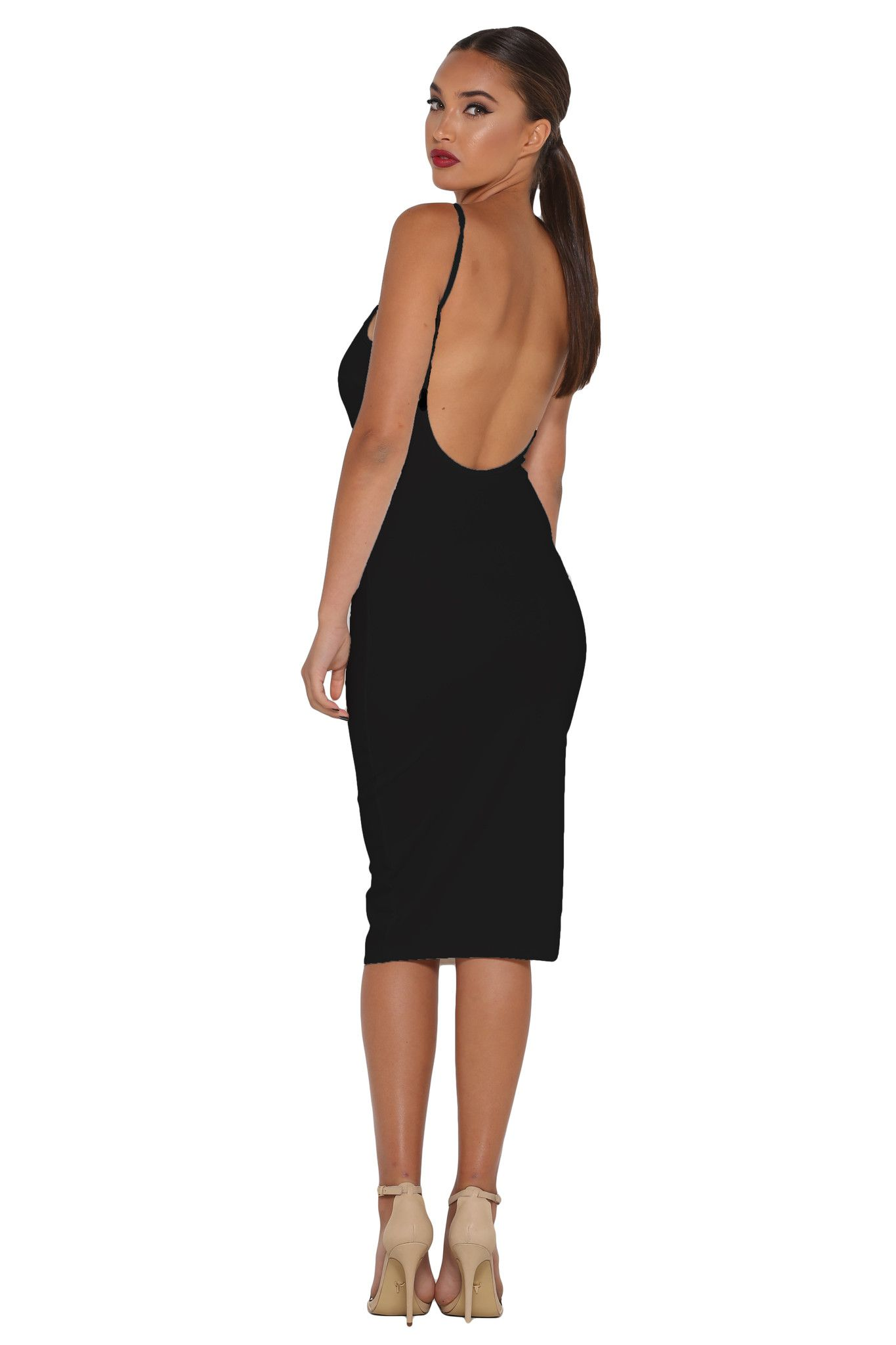 Kora Backless Midi Dress – Black | Meshki Boutique | Races ...