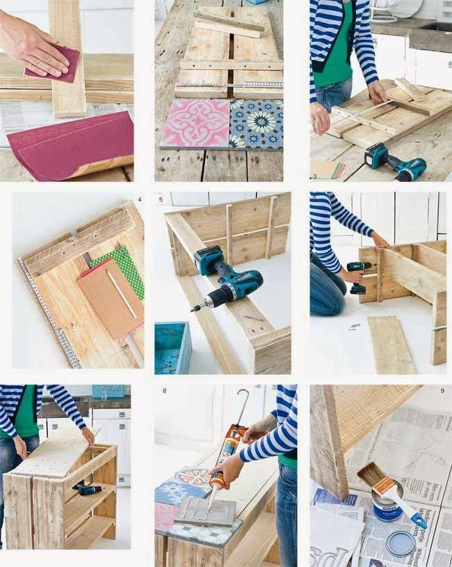 MIJN LEVEN IN SPACE: meubels en decoratie Vintage Hersteld: Een DIY DIY met hydraulische tegels met oude tegels {}