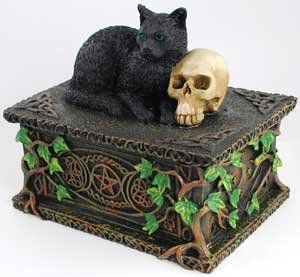 Amazon.com - Black Cat with Skull Trinket Box - Decorative Boxes