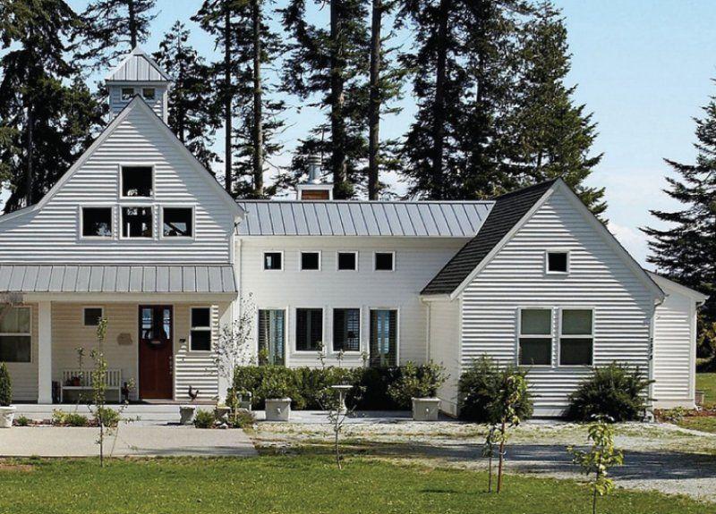 Modern farmhouse design via for White farmhouse plans