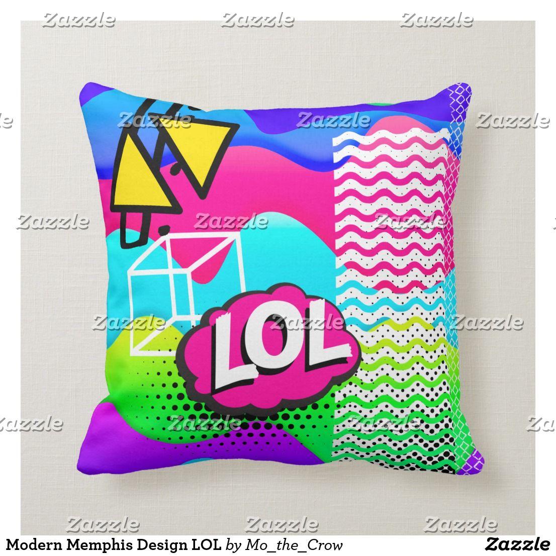 Modern Memphis Design LOL Throw Pillow | Zazzle.com #memphisdesign